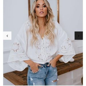 Vici Je T'aime eyelet button down top - off white